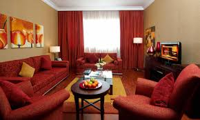 Red Color Living Room Decor With Dark Cream Wall Ideas