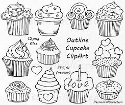 Outline Cupcake Clipart Doodle Cupcakes Clip art Hand drawn cupcake clip art PNG EPS vector clipart For Personal and mercial use