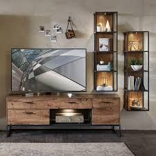 industrial tv wohnwand set in haveleiche cognac mit graphit minneapoli
