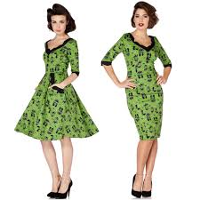 voodoo vixen cat green katnis dress 50s pin up vintage retro flare