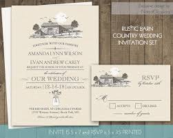 Barn Wedding Invitation Suite Rustic Country Invitations Mason Jar Set