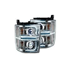 Clear Chrome LED Halo Headlights | Silverado 1500 14-17 | RECON ...