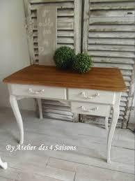 plateau bois bureau bureau vintage patiné gris perle blanc poudré plateau bois finition