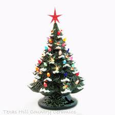 Holly Lights Snow Tabletop Ceramic Christmas Tree Green Base 18 Inches