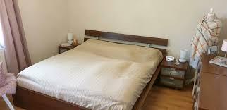 ikea hopen malm bett schlafzimmer nussbau holzmöbel 180x200
