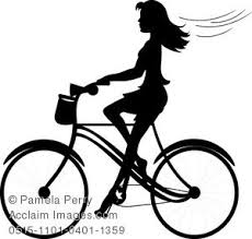 Clip Art Image Of A Girl Riding Bike Silhouette