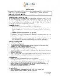 Front Office Job Resume by Front Office Manager Job Description Resume Free Online