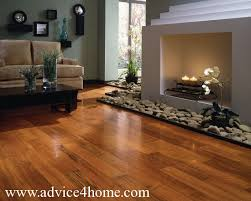 Dark Red Hardwood Flooring And Cream Sofa Design In Living Room
