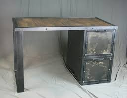 Reclaimed Wood Desk Top Office Furniture Modern Custom Industrial Desk With File Cabinet Drawers Reclaimed Wood Top