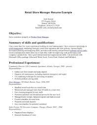 Retail Store Manager Resume Example Job