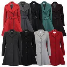 ladies coat womens jacket wool look belt long trench warm winter