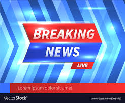 Breaking News Banner With Striped Blue Background Vector Image
