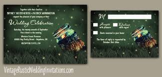 Mason Jar Rustic Firefly Wedding Invitations