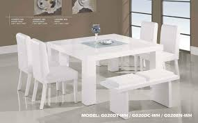 Contemporary White Wood Middle Frosted Glass Dining Table Set