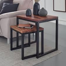 finebuy satztisch sheesham massivholz metall design beistelltisch 2er set
