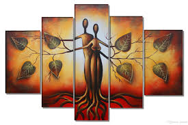 Eden Love Canvas Painting Modern Abstract Art Life Tree Oil Wall Home Decor Framed Easy To Hang