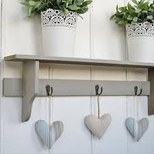 Grey Rustic Wooden Wall Shelf With 3 Coat Hooks From Blissandbloomco