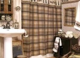 Lodge Style Bathroom Rustic Shower Curtain Vanity Lighting