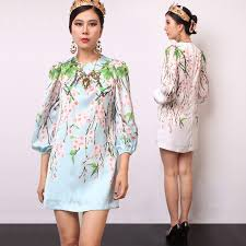 Casual Dress 2017 Summer Fashion Daily Womens New 3 4 Lantern Sleeve Plum Flowers Printed