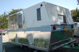 Angular Rear End On 1960 Vintage Holiday House Trailer