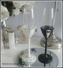 Bride And Groom Glasses Champagne Toasting Flute Set Hand Made To Order