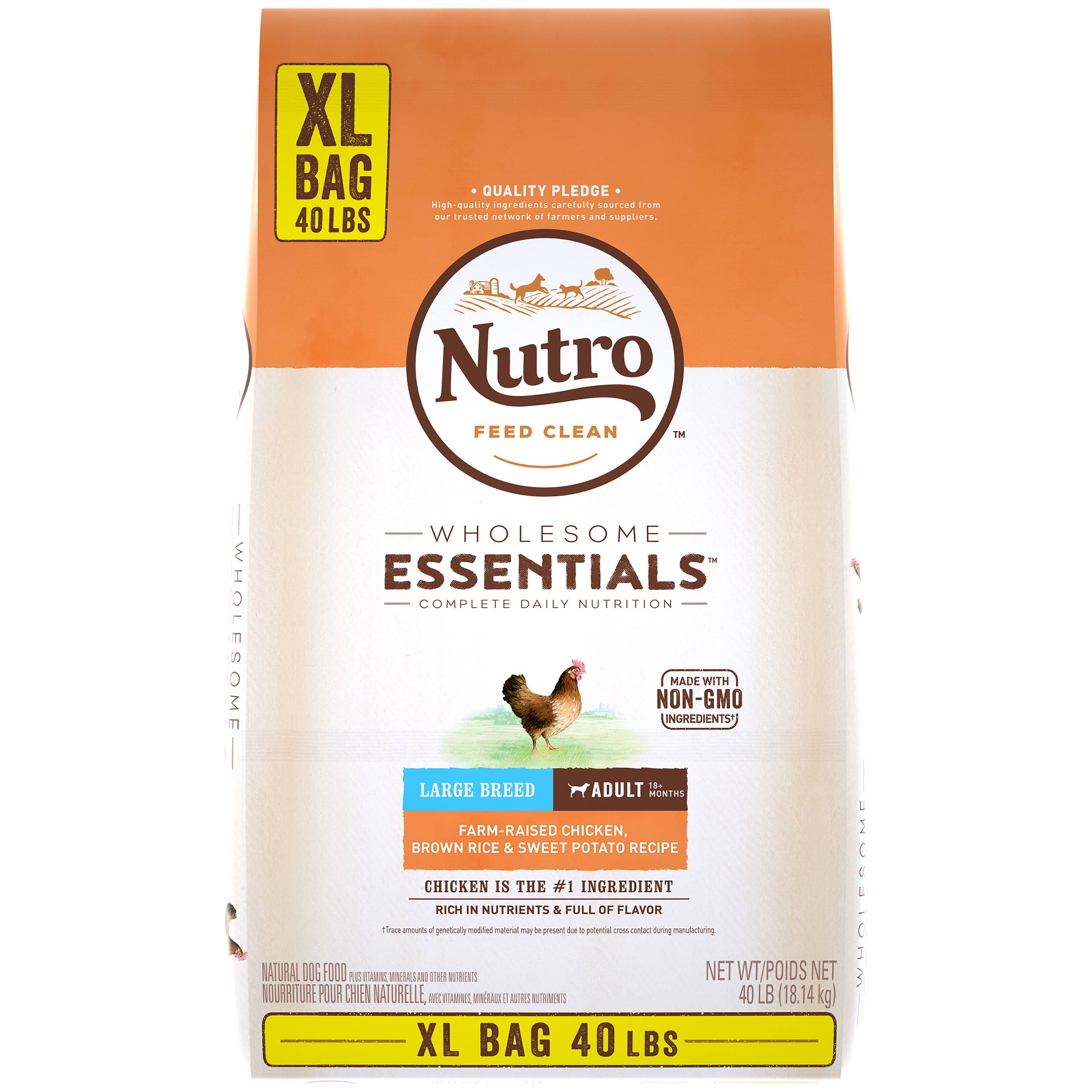 Nutro Wholesome Essentials Farm-Raised Chicken, Brown Rice & Sweet Potato Recipe Large Breed Adult Dry Dog Food, 40 lbs.