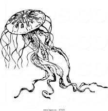 Royalty Free Clip Art Vector Logo of a Black and White Jellyfish