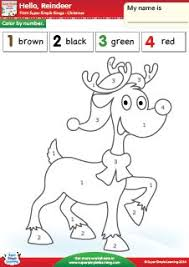 Hello Reindeer Color By Number Christmas Worksheet From Super Simple Learning