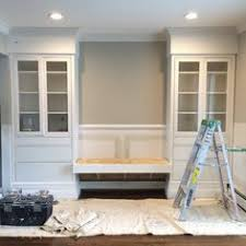 Hemnes Cabinets From Ikea W Extra Molding To Look Like Built Ins Dining Room Storage