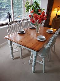 Shabby Chic Solid Pine Farmhouse Table And 4 Chairs