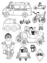Ambulance Car Bicycle Motorcycle Coloring Pages For Preschool