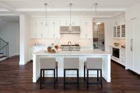 spectacular white kitchen island with stools using black wooden