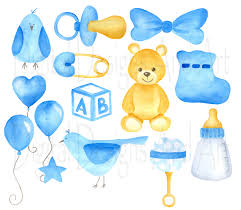 Watercolor baby clipart Baby boy set clipart Blue baby clipart