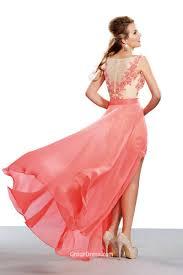 stylish scoop short lace prom dress with detachable chiffon train