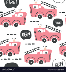 100 Pink Fire Truck Toy Truck Seamless Pattern In Scandinavian Style Vector Image