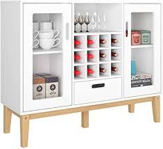 homecho buffetschrank weiß sideboard mit weinregal bar weinschrank mit 12 flaschen anrichte für küche wohnzimmer arbeitszimmer 100x80 5x33 cm