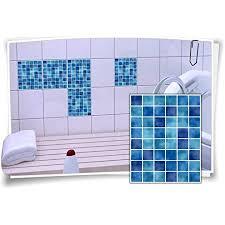 fliesen aufkleber fliesen bild fliesen imitat mosaik blau bad wc deko dekor badezimmer kachel folie digitaldruck 12 stück 15x20cm