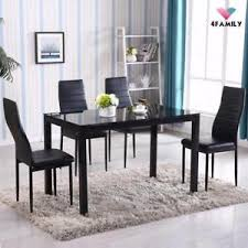 NEW 5 PCS DINING TABLE SET GLASS METAL DINST
