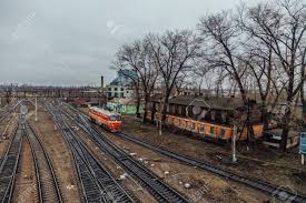 100 Railroad Trucks Aerial View To Railway Junction At Gryazi Lipetsk