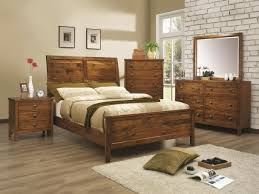 Minimalist Furniture In Rustic Bedroom Ideas With Wooden Bed And Teak Dressers On Oak Flooring
