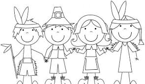 Pilgrim And Indian Coloring Pages Thanksgiving For