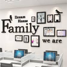 3D Photo Frame Wall Sticker Family Dream House Decoration Art Office Home Decor Black Family Photo Frame Pictures Home Hanging Wall Collage Decor