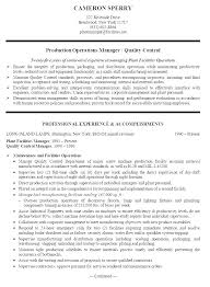 Sample Resume For Production Manager Manufacturing Template Planning