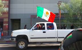 100 Mexican Truck Phoenix Agitators Wave Flags Hoist Trumps Head On Pike