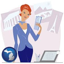 A Travel Agent In Agency Holding Airline Tickets