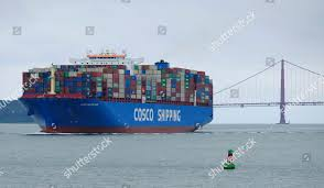 100 Shipping Containers San Francisco Cosco Container Ship Passes Golden Gate Editorial