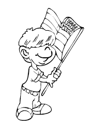 Flag Day Little Boy Waving On Coloring Pages
