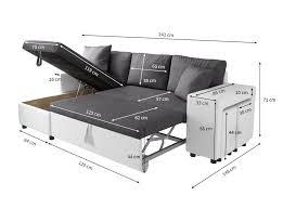 canap d angles convertible canapé d angle convertible en lit avec poufs oslo gris blanc