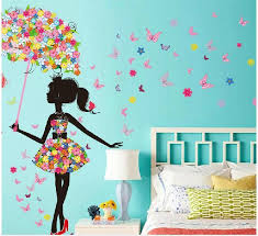 3d Butterfly Flower Romantic Wall Sticker Gorgeous Fairy Girl Riding Bike Spring Wedding Room Diy Home Removable Decal Art Decor Stickers