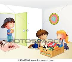 Clip Art Of Three Kids Inside The House With A Box Toys K13569099